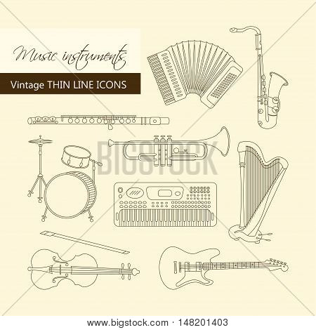 Vector thin line icons with different music instruments synthesizer, drums, accordion, violin, trumpet, harp, drum saxophone electric guitar flute piano