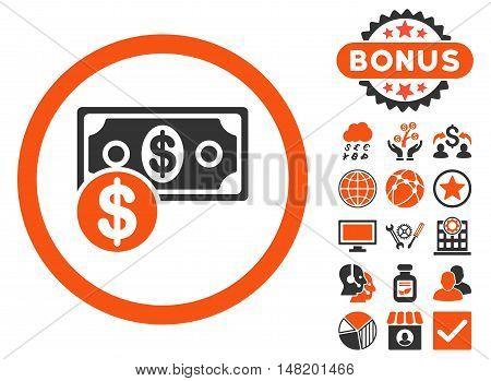 Cash icon with bonus symbols. Vector illustration style is flat iconic bicolor symbols, orange and gray colors, white background.