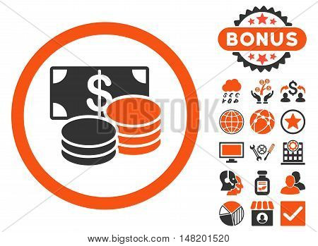 Cash icon with bonus pictures. Vector illustration style is flat iconic bicolor symbols, orange and gray colors, white background.