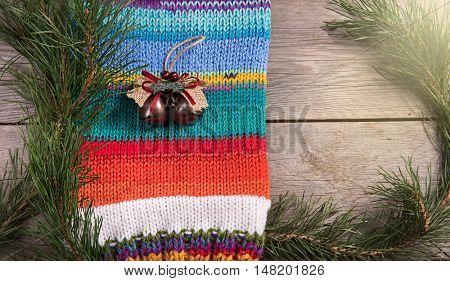 Christmas tree decoration wooden texture background woolen warm wear new year