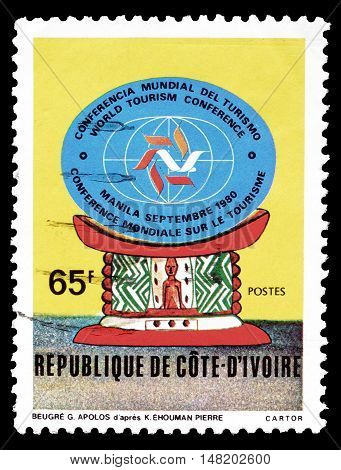 IVORY COAST - CIRCA 1980 : Cancelled postage stamp printed by Ivory Coast, that promotes World Tourism Organization.