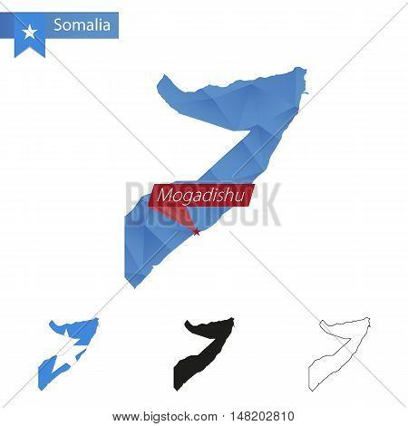 Somalia Blue Low Poly Map With Capital Mogadishu.
