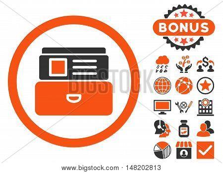 Catalog icon with bonus images. Vector illustration style is flat iconic bicolor symbols, orange and gray colors, white background.