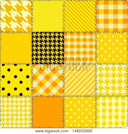 Seamless background pattern. Quilting design pattern in yellow color