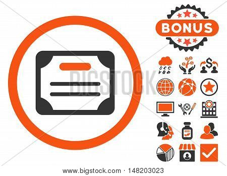Certificate icon with bonus symbols. Vector illustration style is flat iconic bicolor symbols, orange and gray colors, white background.