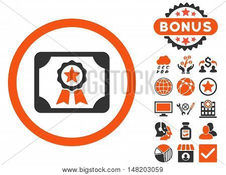 Certificate icon with bonus design elements. Vector illustration style is flat iconic bicolor symbols, orange and gray colors, white background.