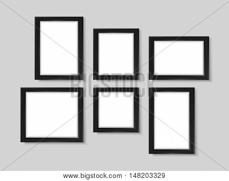 Picture Frames Wall Photo Gallery Mock Up Vector Black