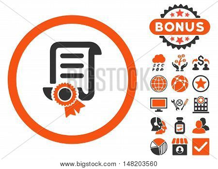 Certified Scroll Document icon with bonus design elements. Vector illustration style is flat iconic bicolor symbols, orange and gray colors, white background.