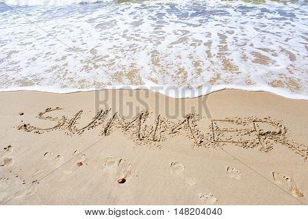 Word Summer On Beach Sand