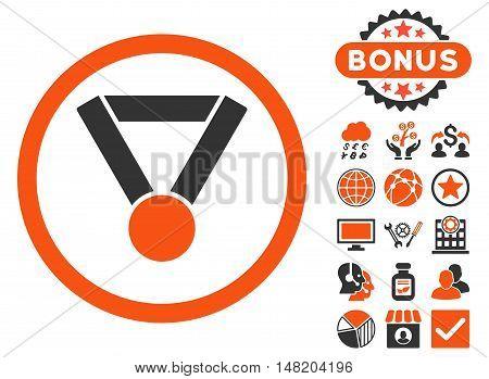 Champion Award icon with bonus elements. Vector illustration style is flat iconic bicolor symbols, orange and gray colors, white background.