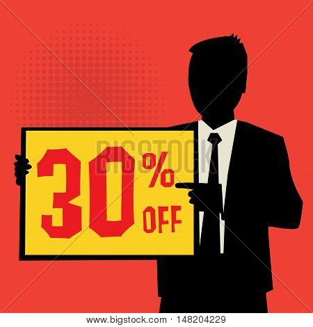 Man showing board business concept with text 30 percent off vector illustration
