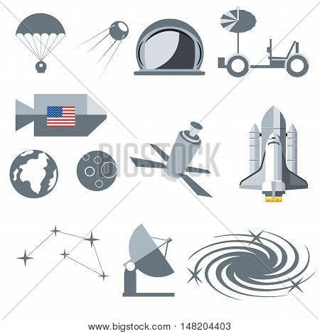 Digital vector silver cosmos icons set with space ship, planet earth, moon, galaxy and constellation over white background, flat style.