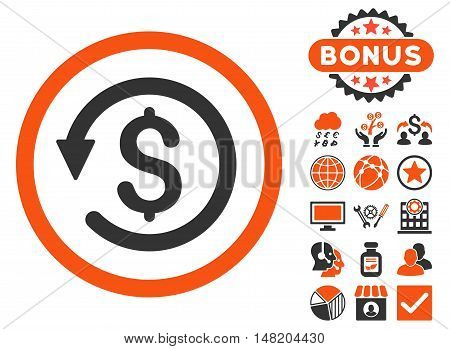Chargeback icon with bonus symbols. Vector illustration style is flat iconic bicolor symbols, orange and gray colors, white background.