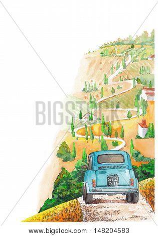 Vintage car rides on a winding road. Corner illustration for design.