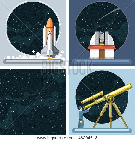 Digital vector silver cosmos rocket icons set with launch, ancient observatory, commet, antenna and empty space over stelar background, flat style.