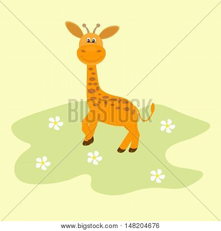 Cute giraffe cartoon. Cheerful giraffe standing on grass.