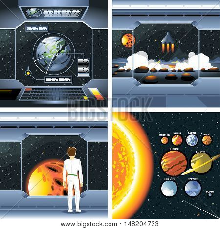Digital vector silver cosmos ship icons set with solar system, shuttle dashboard, cosmonaut, rocket launch and empty space over stelar background, flat style.