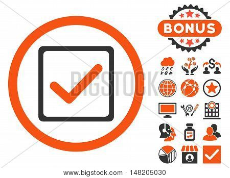 Checkbox icon with bonus elements. Vector illustration style is flat iconic bicolor symbols, orange and gray colors, white background.