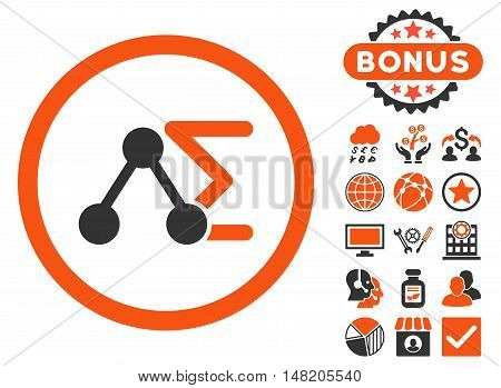 Chemical Formula icon with bonus images. Vector illustration style is flat iconic bicolor symbols, orange and gray colors, white background.