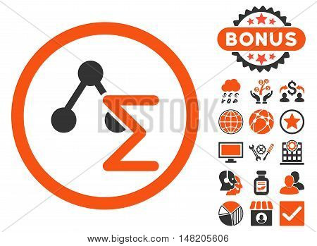 Chemical Formula icon with bonus design elements. Vector illustration style is flat iconic bicolor symbols, orange and gray colors, white background.