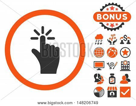 Click icon with bonus pictogram. Vector illustration style is flat iconic bicolor symbols, orange and gray colors, white background.
