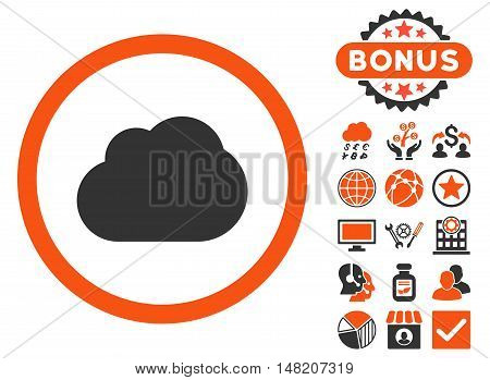 Cloud icon with bonus images. Vector illustration style is flat iconic bicolor symbols, orange and gray colors, white background.