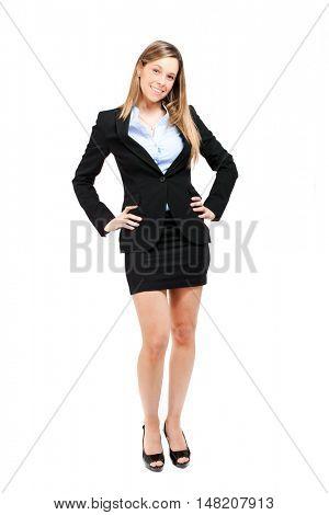 Smiling businesswoman full length isolated on white