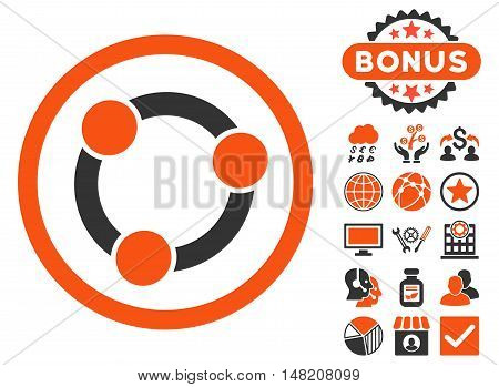 Collaboration icon with bonus images. Vector illustration style is flat iconic bicolor symbols, orange and gray colors, white background.