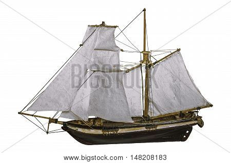 Sailing ship  old insulated on white background