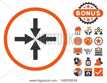 Collide Arrows icon with bonus pictogram. Vector illustration style is flat iconic bicolor symbols, orange and gray colors, white background.