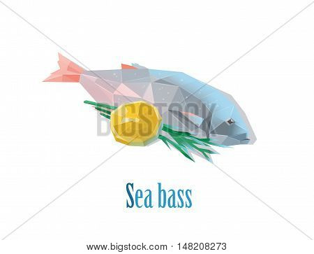 Vector polygonal illustration of sea bass with lemon, low poly food icon, isolated on white background