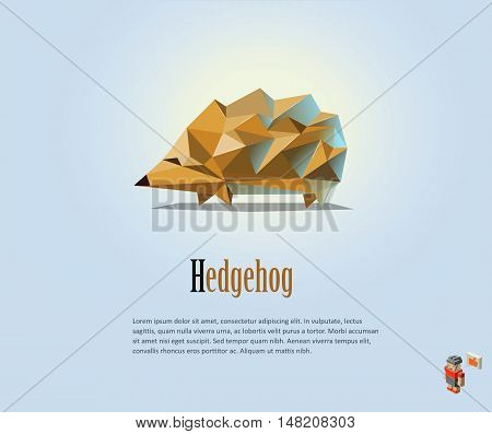 Vector polygonal illustration of Hedgehog, modern low poly animals icon