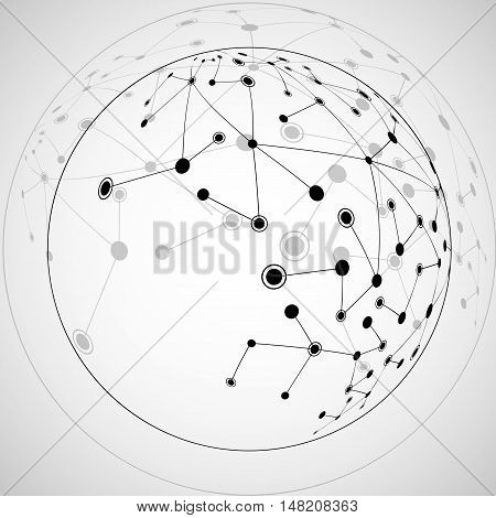 Abstract sphere from dots and lines network connections. Futuristic technology style