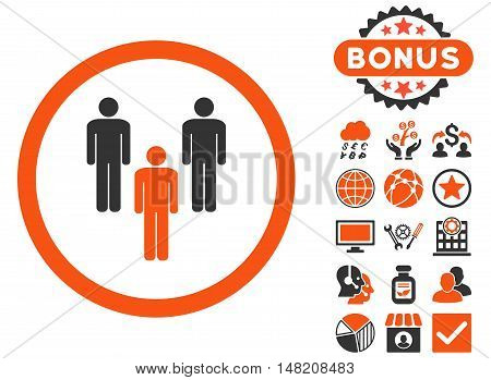 Community icon with bonus images. Vector illustration style is flat iconic bicolor symbols, orange and gray colors, white background.