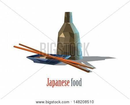 Vector polygonal illustration of Japanese food, kitchen, chopsticks, soy sauce, bowl, asian cuisine, isolated on white background