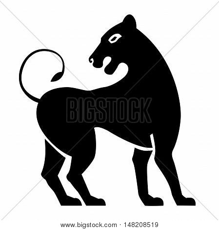Stylized black lions. Lion silhouette. Vector isolated on a white background.