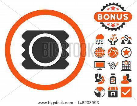 Condom icon with bonus elements. Vector illustration style is flat iconic bicolor symbols, orange and gray colors, white background.
