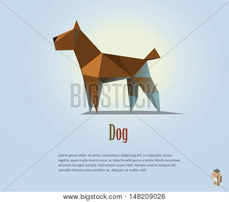 Vector polygonal illustration of brown dog, modern pet icon, low poly object