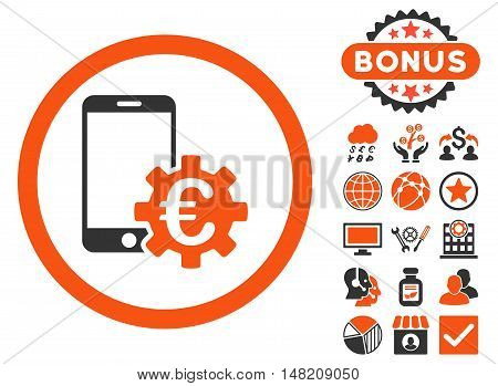 Configure Mobile Euro Bank icon with bonus symbols. Vector illustration style is flat iconic bicolor symbols, orange and gray colors, white background.