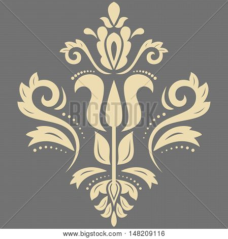 Oriental pattern with arabesques and floral elements. Traditional classic ornament. Gray and golden pattern