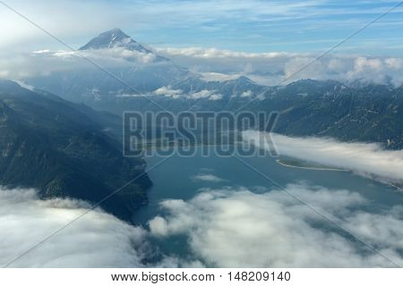 Avacha Bay and Vilyuchinsky stratovolcano. South Kamchatka Nature Park. View from the helicopter.