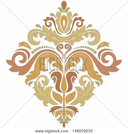 Oriental pattern with arabesques and floral elements. Traditional classic ornament. Pattern with pastel colors