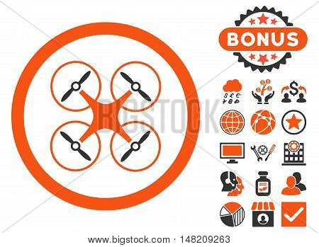 Copter icon with bonus design elements. Vector illustration style is flat iconic bicolor symbols, orange and gray colors, white background.