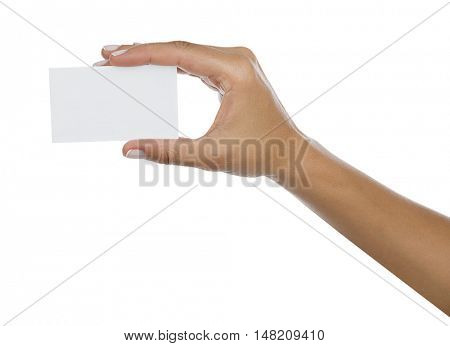 Blank Card on Hand Isolated