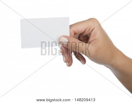 Woman Holding Blank Card Isolated