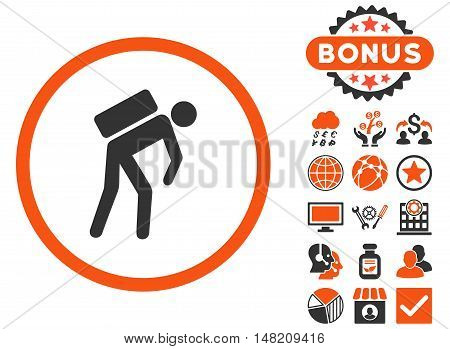 Courier icon with bonus symbols. Vector illustration style is flat iconic bicolor symbols, orange and gray colors, white background.