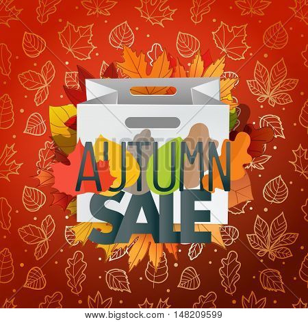 Autumn sale composition with the shopping bag. Autumn card template