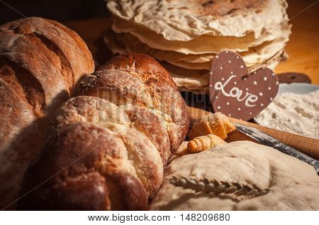 Variety of bakery products on a table