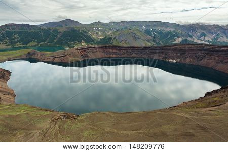 Lake in the Caldera volcano Ksudach. South Kamchatka Nature Park. View from the helicopter.