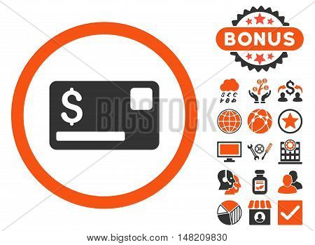 Credit Card icon with bonus pictures. Vector illustration style is flat iconic bicolor symbols, orange and gray colors, white background.